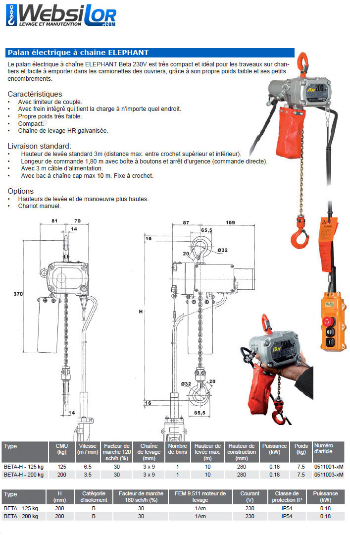 Informations techniques Petit palan électrique compact monophasé Elephant - 125 ou 200kg