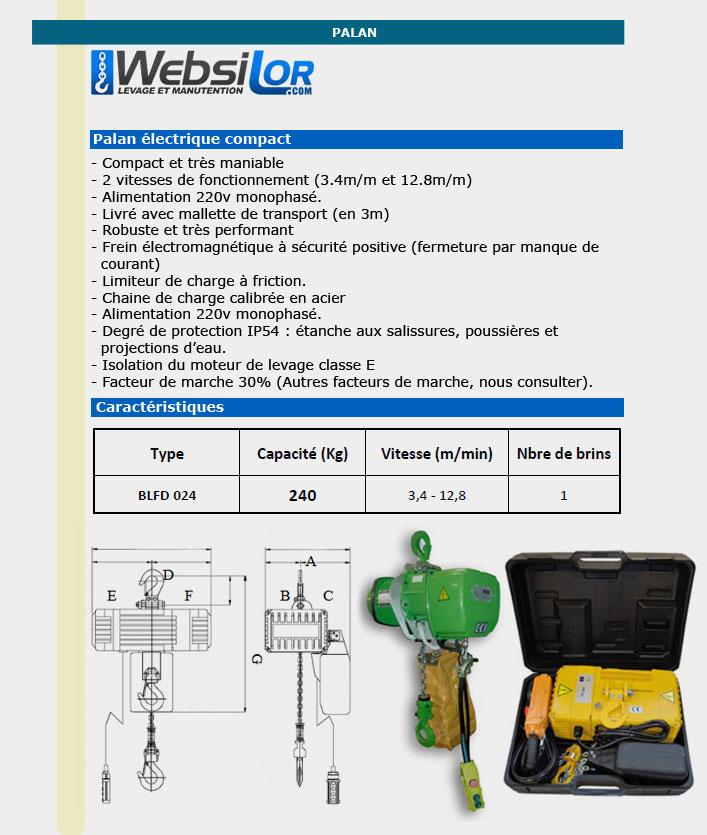 Informations techniques Palan électrique EXO monophasé - 240kg