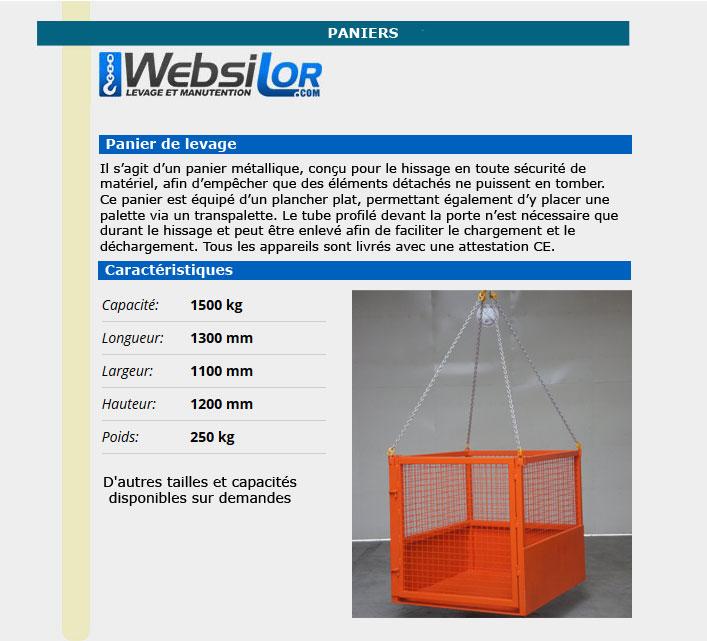 Informations techniques Panier de levage pour matériel