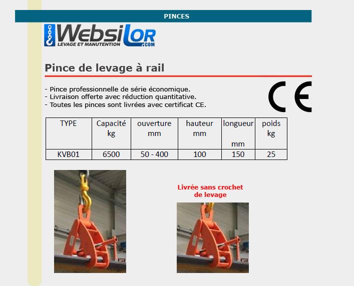 Informations techniques Pince de levage pour rails - 6500kg