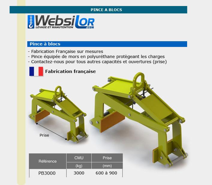 Informations techniques Pince à blocs 3 tonnes