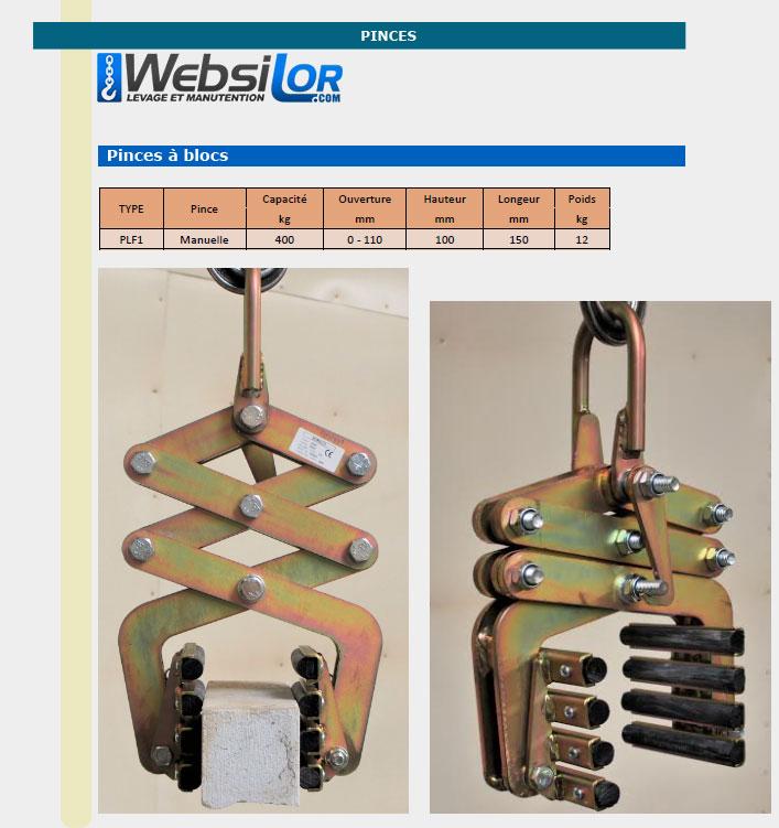 Informations techniques Pince bloc 400kg - ouverture 0 à 110mm