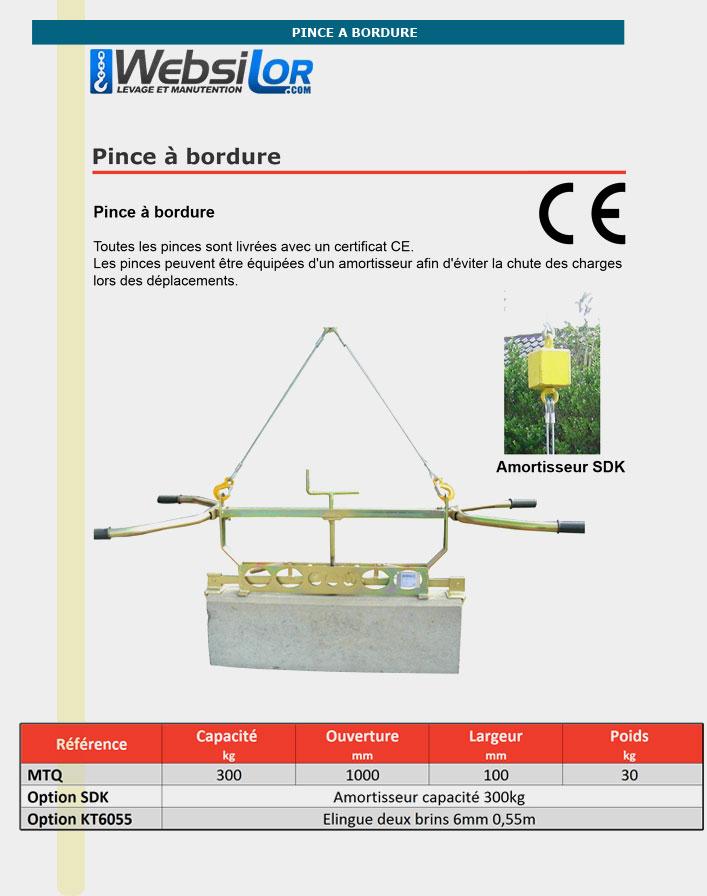 Informations techniques Pince à bordure pour prise dans la longueur- 300kg - série commerciale