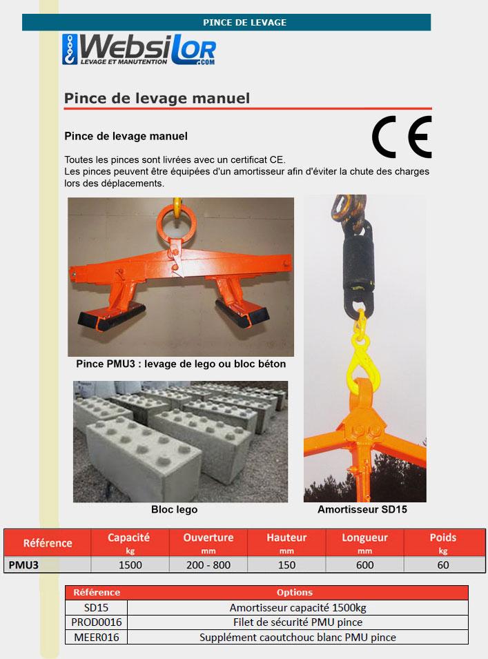 Informations techniques Pince pour blocs beton ou lego