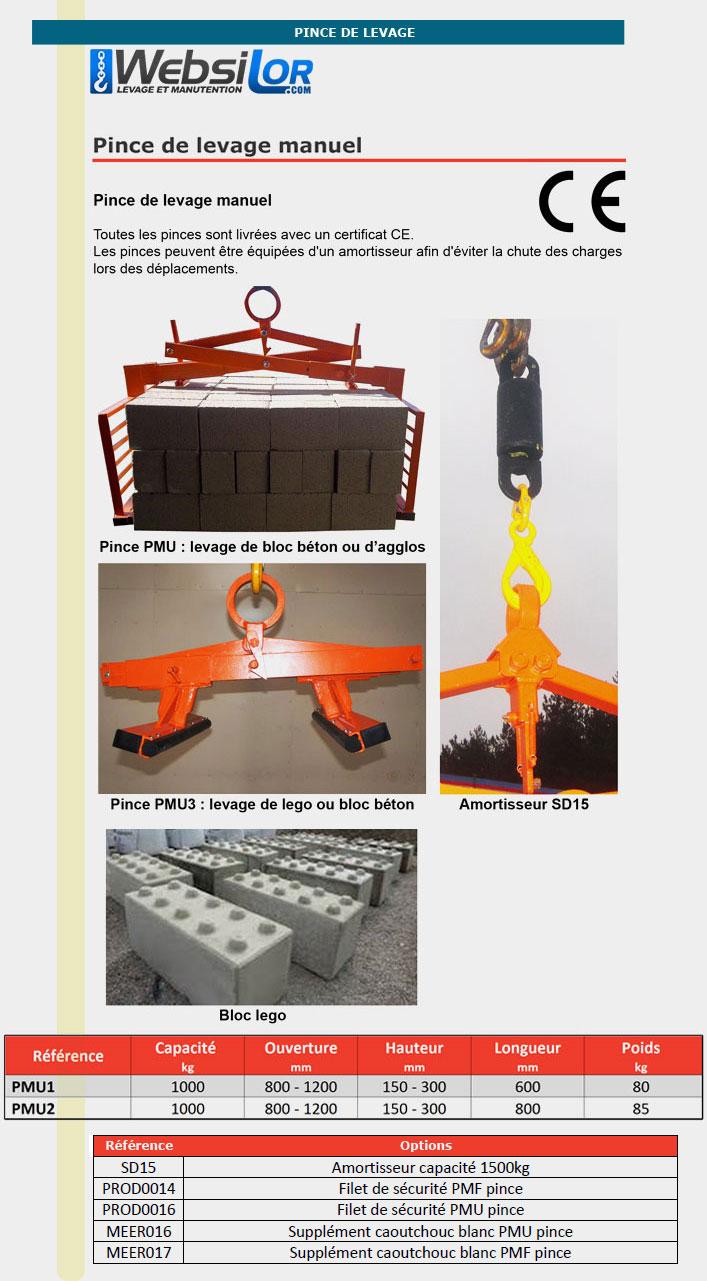 Informations techniques Pince pour blocs beton ou d'agglos