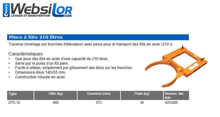 Informations techniques Pince à futs standard - 210 litres