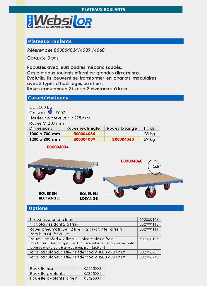 Informations techniques Plateau roulant - 500 kg