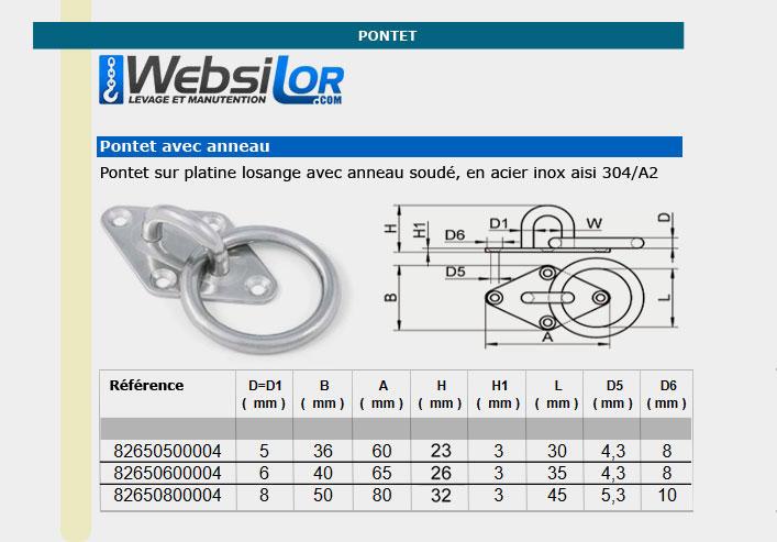 Informations techniques Pontet sur platine losange avec anneau soudé