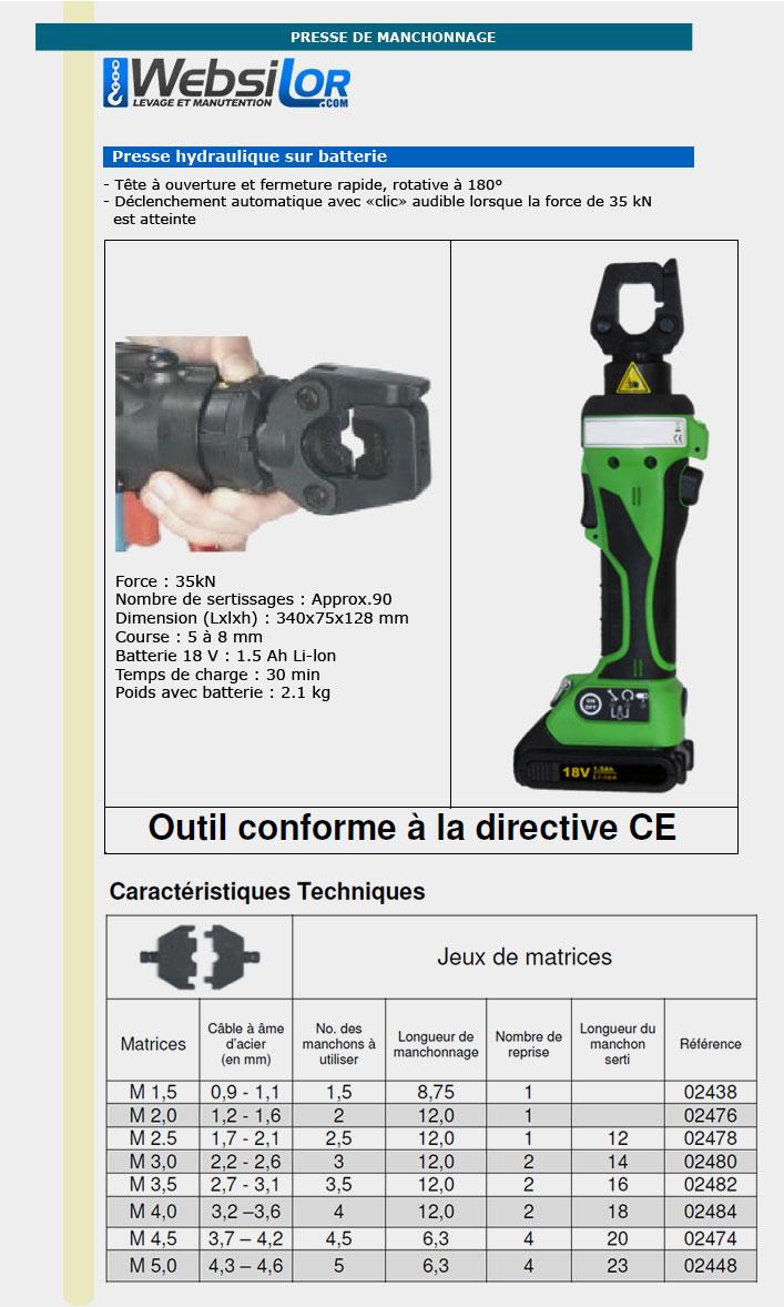 Informations techniques Presse hydraulique de manchonnage électrique