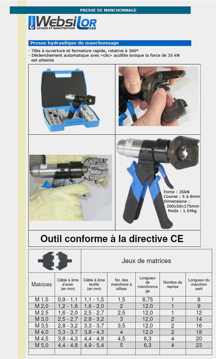 Informations techniques Presse hydraulique de manchonnage