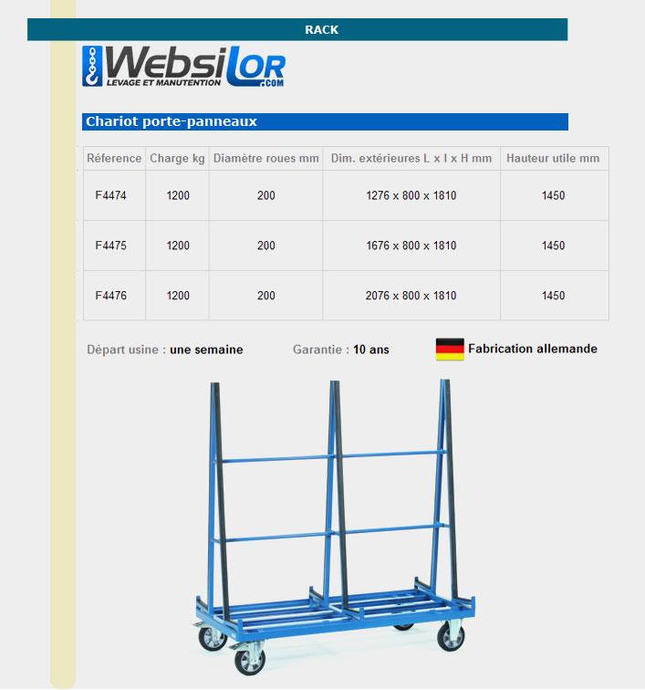 Informations techniques Chariots porte-panneaux - 1200 kg