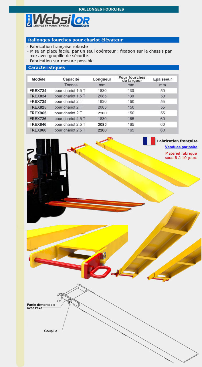 Informations techniques Rallonge fourche avec axe à goupiller - 1,5 tonnes