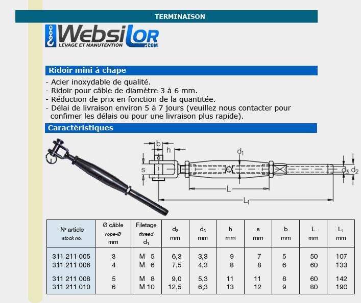 Informations techniques Ridoir mini inox à chape pour câble 3 à 6mm