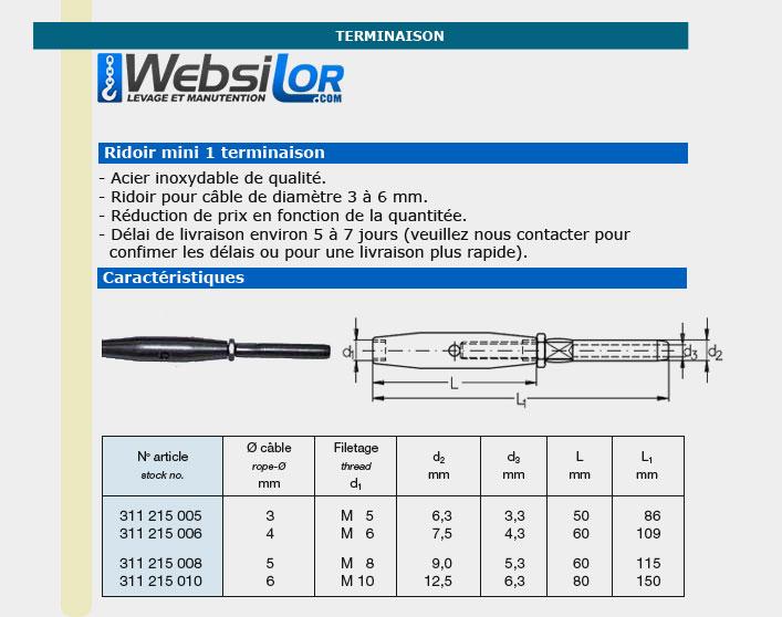 Informations techniques Ridoir mini inox pour câble 3 à 6mm
