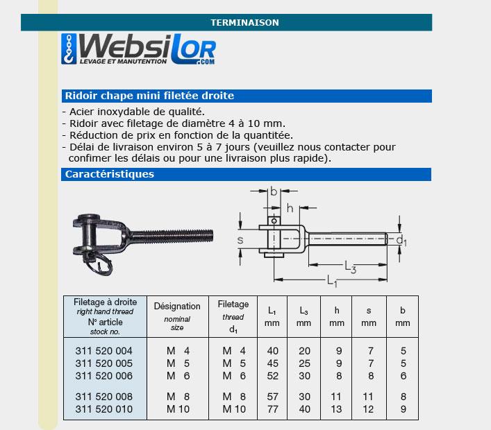 Informations techniques Chape mini filetée droite de 4 à 10mm