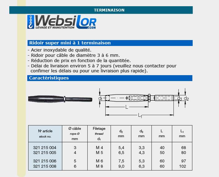 Informations techniques Ridoir super mini inox pour câble 3 à 6mm