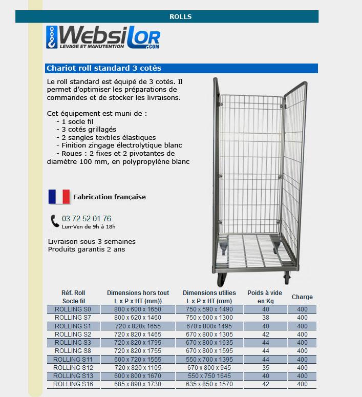 Informations techniques Roll conteneur équipé de 3 cotés - 400 kg