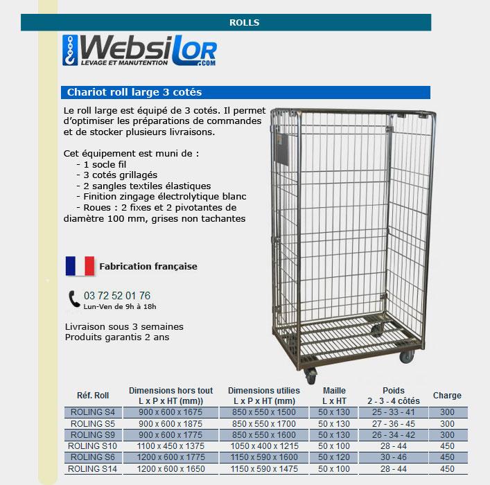 Informations technique de Roll conteneur large de 3 cotés - 300 kg