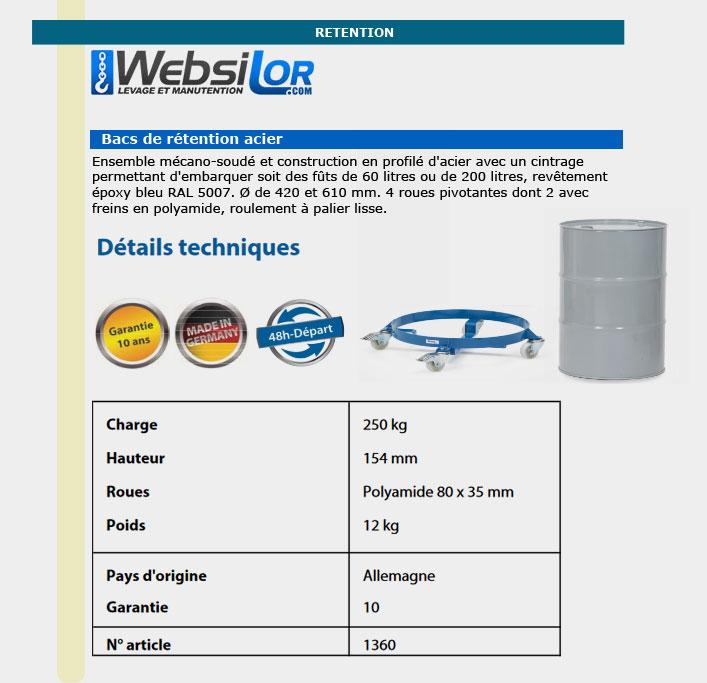 Informations technique de Rouleur pour fûts - 250kg