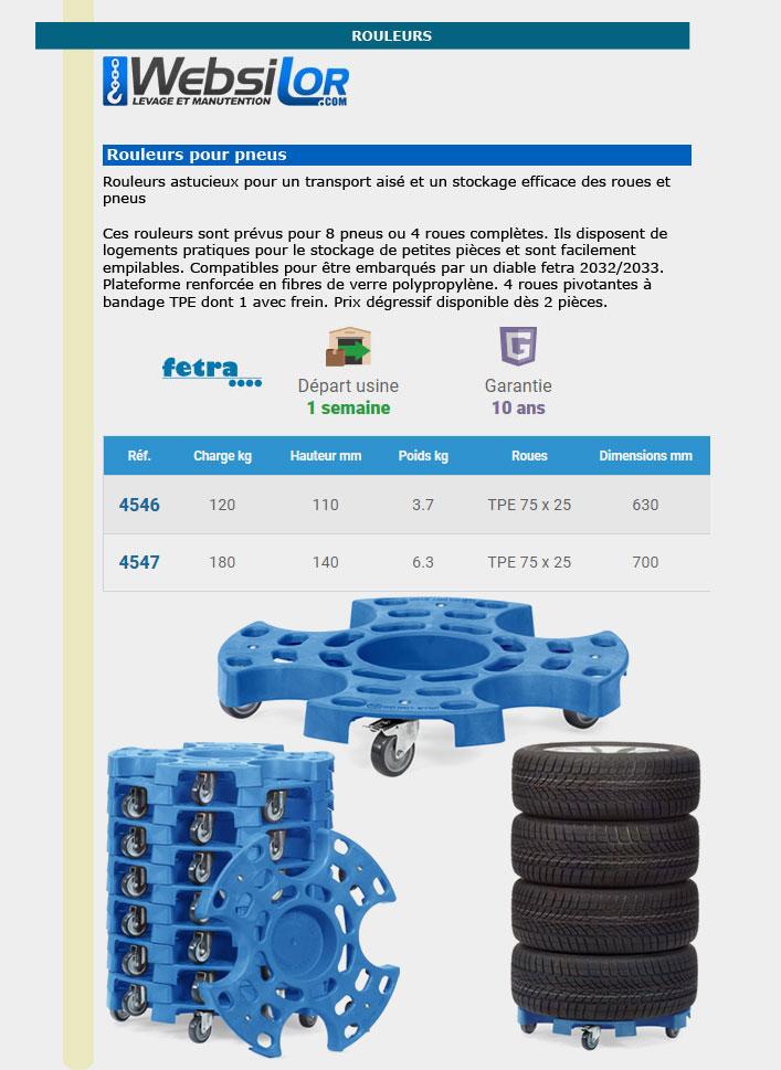 Informations techniques Plateau roulant pour pneus