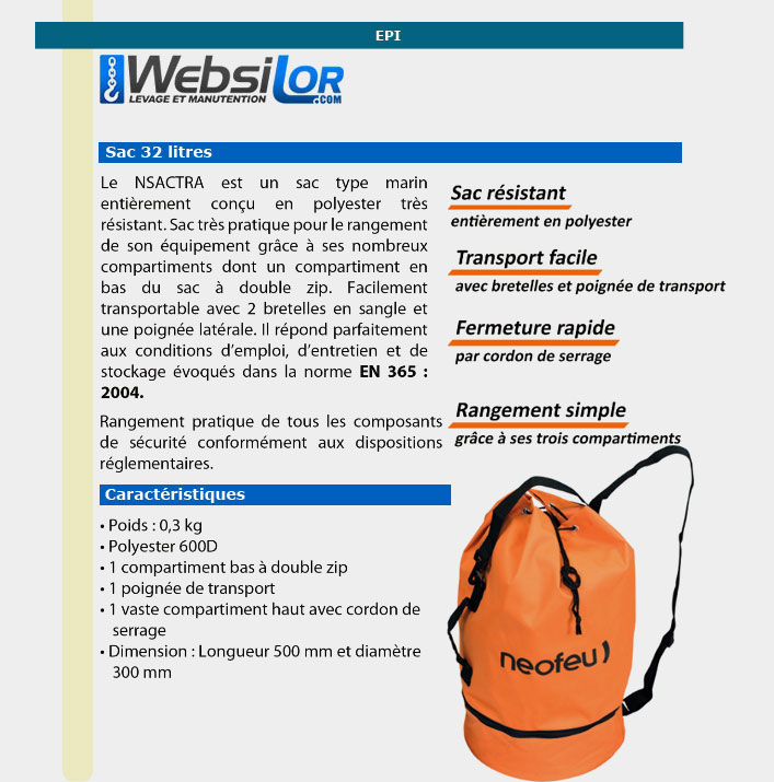 Informations techniques Sac de transport kit EPI