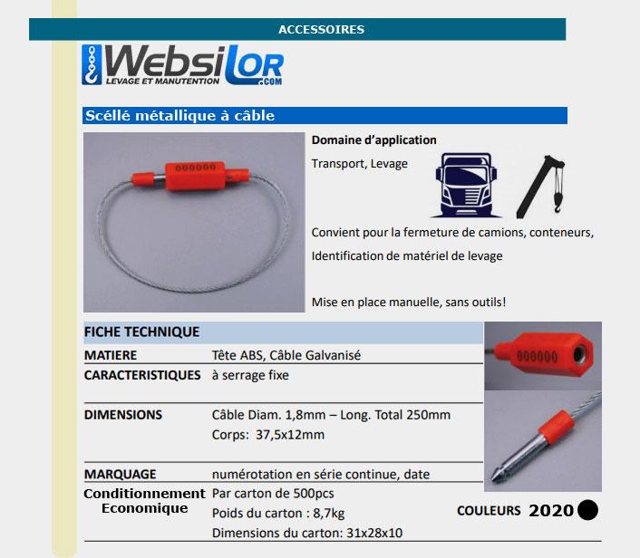 Informations techniques Scellé métallique à câble lot de 100