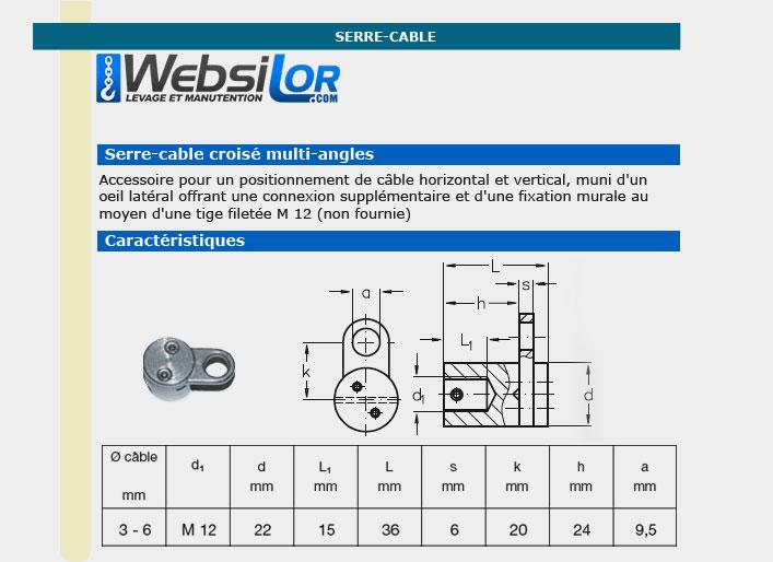 Informations techniques Serre câble croise  inox mural 1 déviation