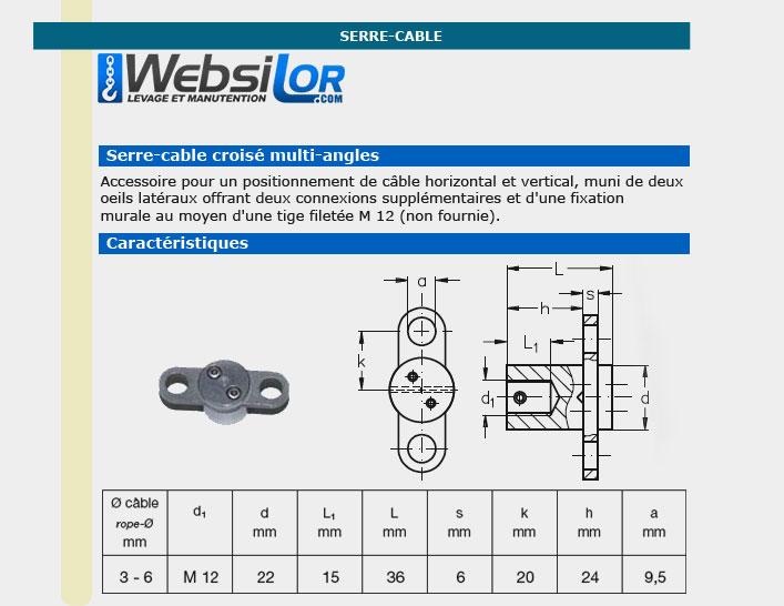 Informations techniques Serre câble croise  inox mural 2 déviations