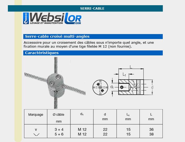 Informations techniques Serre câble croise inox mural - diam 3 à 4 mm