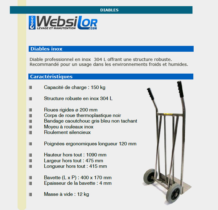Informations techniques Diable en inox 304L - 150 kg