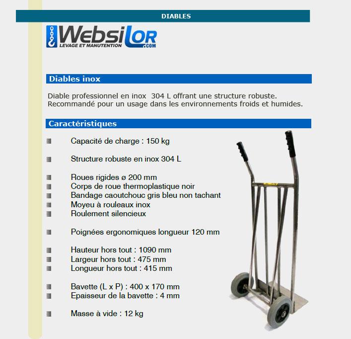 Informations techniques Diable en inox - 150 kg