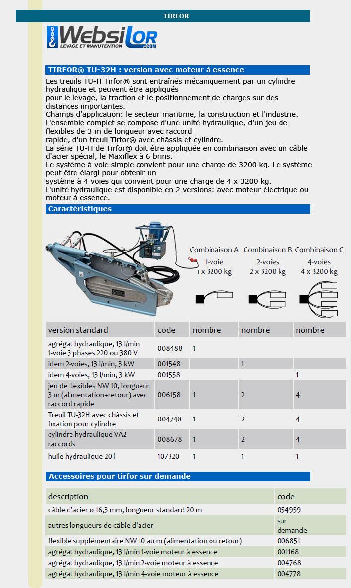 Informations techniques Tirfor hydraulique - 3.2 tonnes