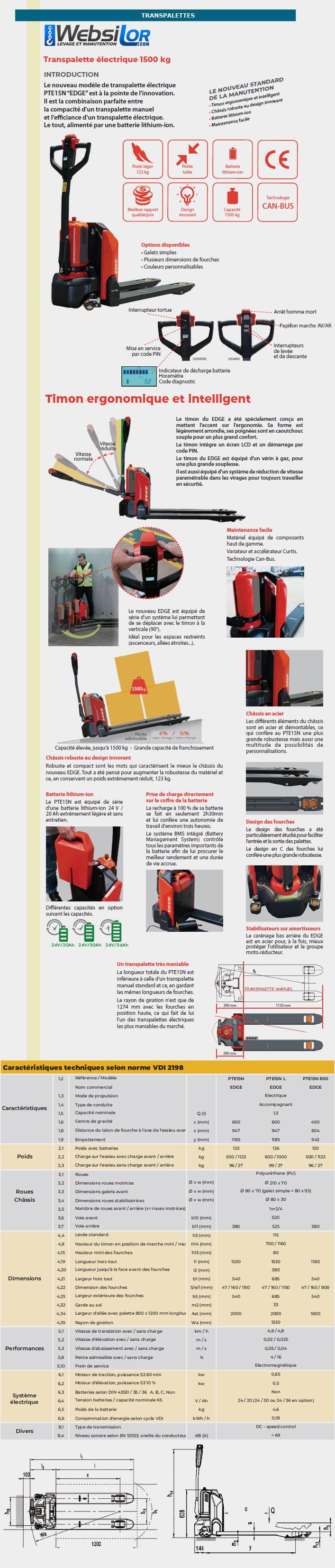 Informations techniques Transpalette électrique 1500kg
