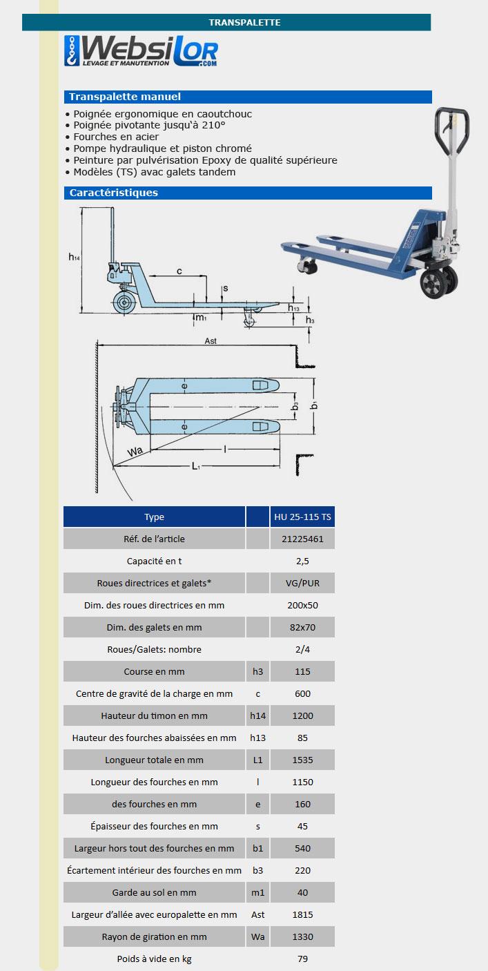Informations techniques Transpalette manuel bleu