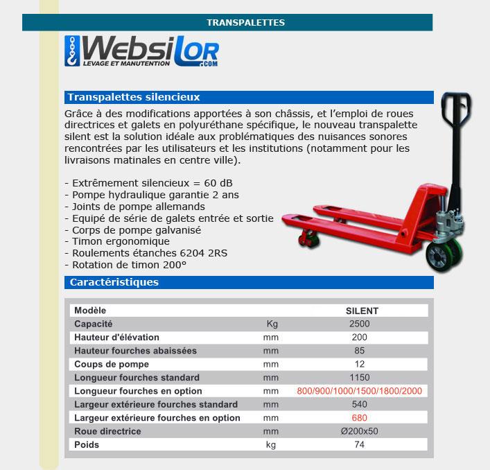 Informations techniques Transpalette manuel - silencieux - 2.5 tonnes