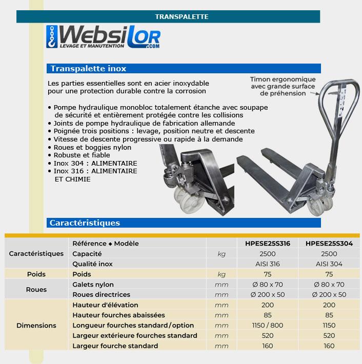 Informations techniques Transpalette inox - 2 tonnes