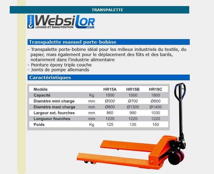 Informations techniques Transpalette porte-bobine