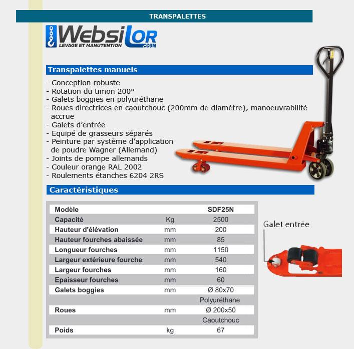 Informations techniques Transpalette manuel - 2.5 tonnes