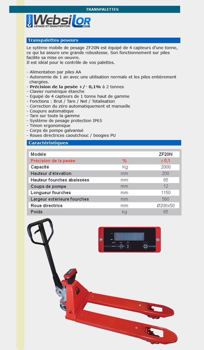 Informations techniques Transpalette peseur - 2000 kg