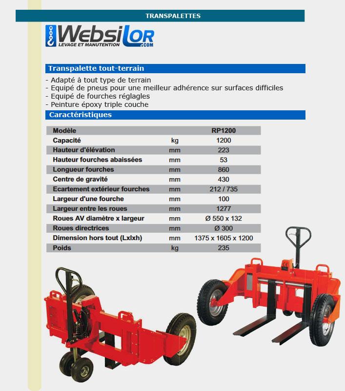 Informations techniques Transpalette tout-terrain - 1.2 tonnes