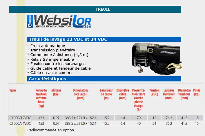 Informations techniques Treuil de levage 12 VDC en 24 VDC