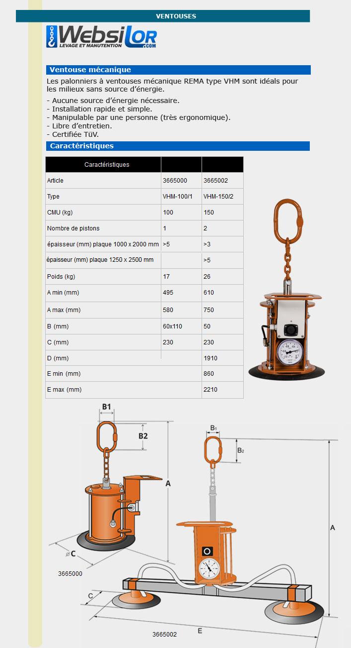 Informations techniques Ventouse mécanique 100 kg