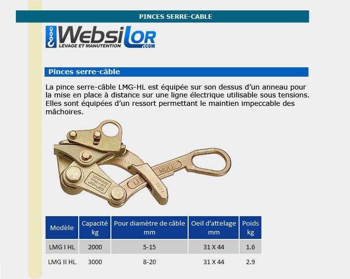 Informations techniques Pince serre-câble pour ligne électrique - 2000kg