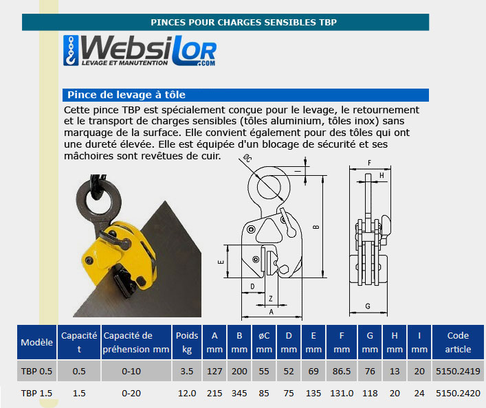 Informations techniques Pince charges sensibles - 0,5 tonne