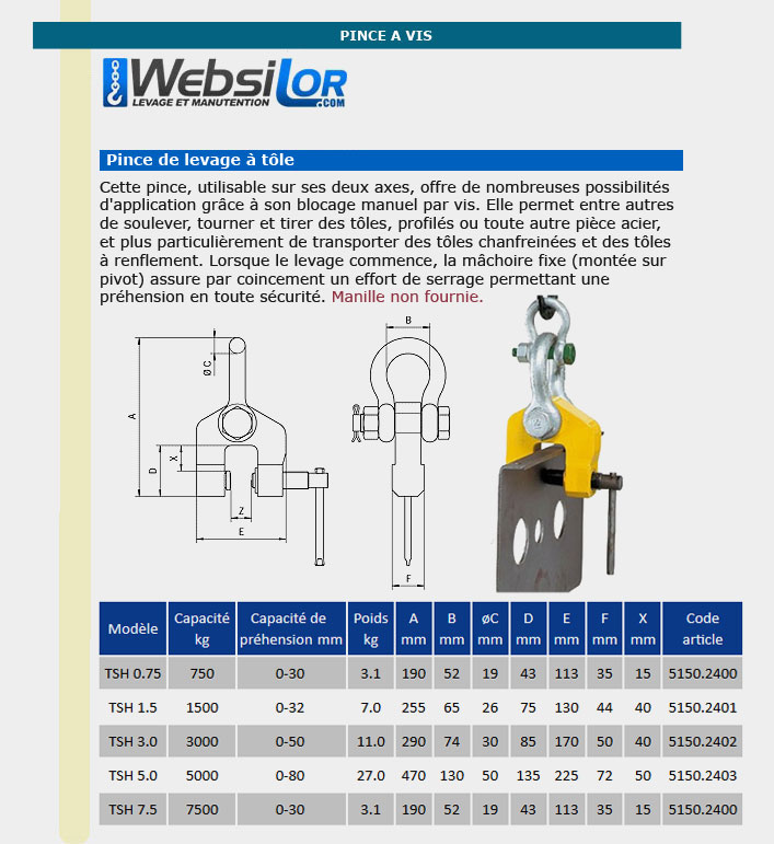 Informations techniques Pince à vis - 0.75 à 5 tonnes