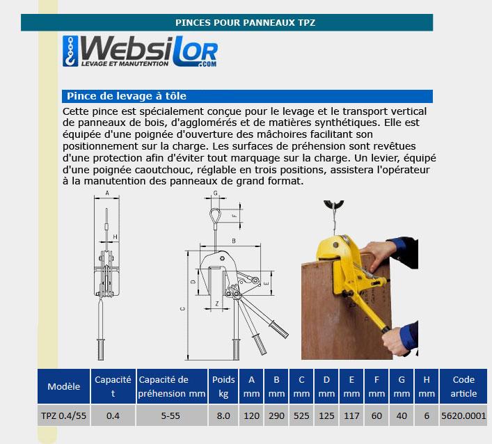 Informations techniques Pince pour panneau - 400 kg