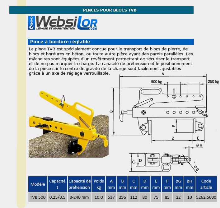 Informations techniques Pince pour blocs de pierre - 250 à 500kg - prise réglable de 0 à 240mm