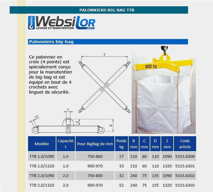 Informations techniques Palonnier pour big-bag jusqu'à 970mm