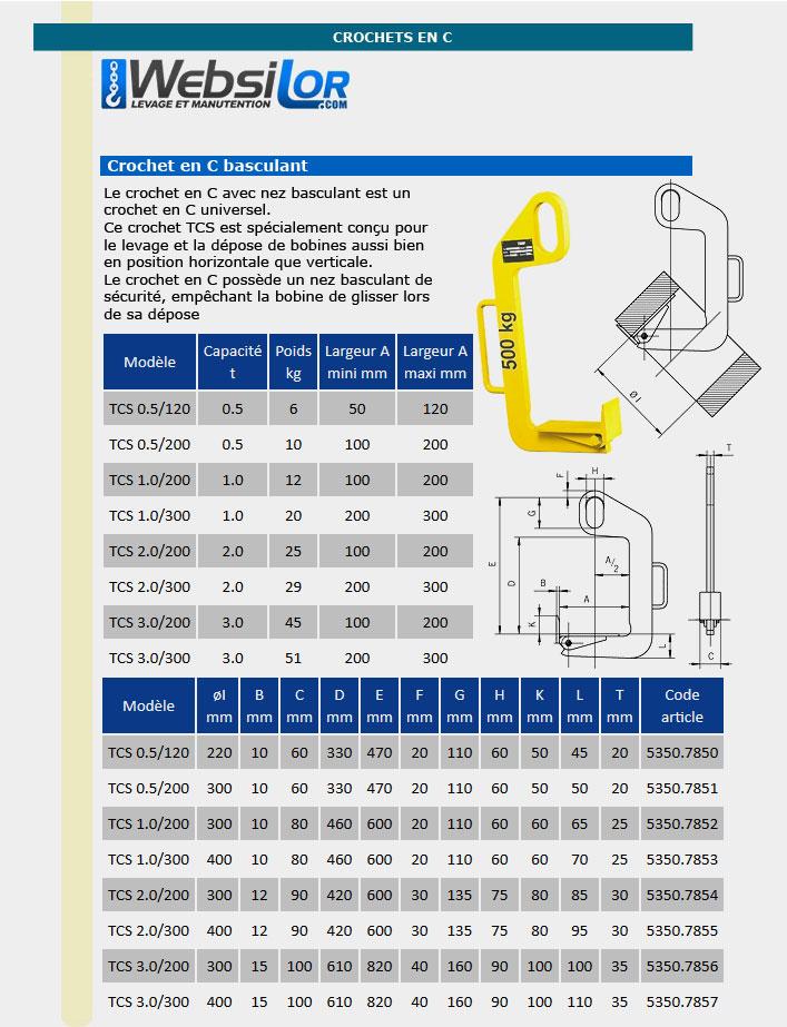 Informations techniques Crochet en C basculant - 0,5 tonne - 50 à 100mm