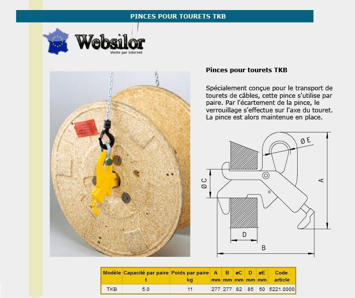 Informations techniques Crochet pince pour tourets